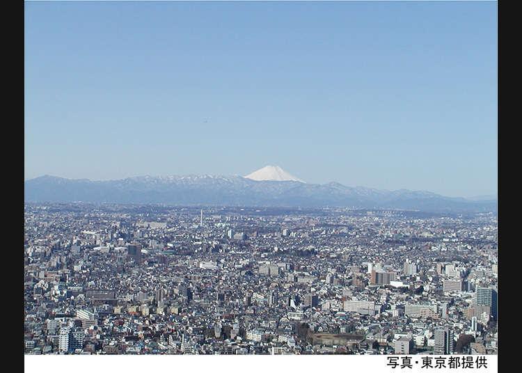 Pemandangan dari dek pemerhatian khas di Bangunan Kerajaan Bandaraya Metropolitan Tokyo