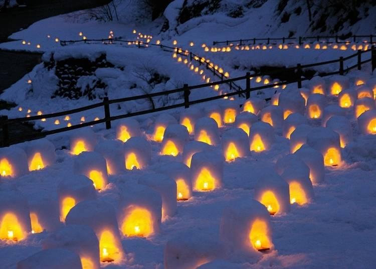 迷人浪漫的夢幻夜景,湯西川溫泉雪洞祭