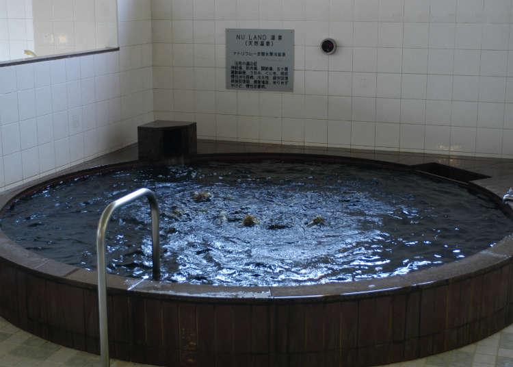 Bersantai sambil berendam dalam air panas hitam (kuroyu)