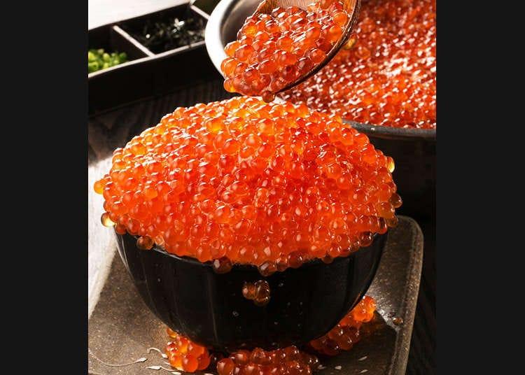 """4 pilihan """"Kobore Ikura-don"""" (nasi bersama kaviar telur ikan salmon) yang boleh didapati di Tokyo"""