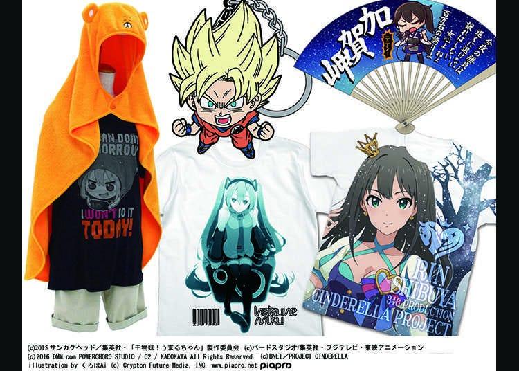 動漫角色的T恤和周邊商品
