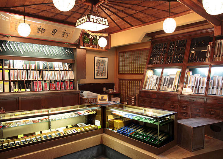 """Old-established shops for """"uchi hamono"""" (Japanese knives forged in a similar way as Japanese swords) , taking pride in their names"""
