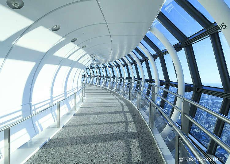 散步在 450 樓的「天望回廊」享受更愜意的美景時光