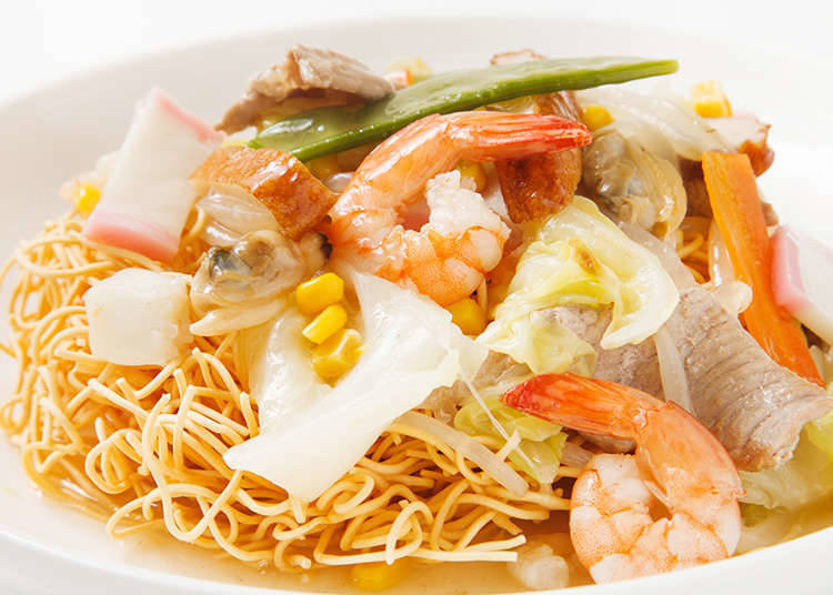 Saraudon (a dish of noodles with various toppings) derived from chanpon