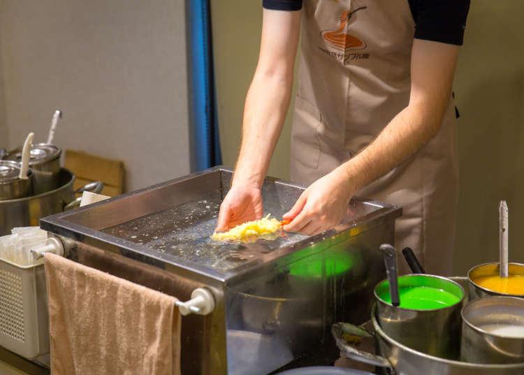 天ぷら作りでテクニックを習得