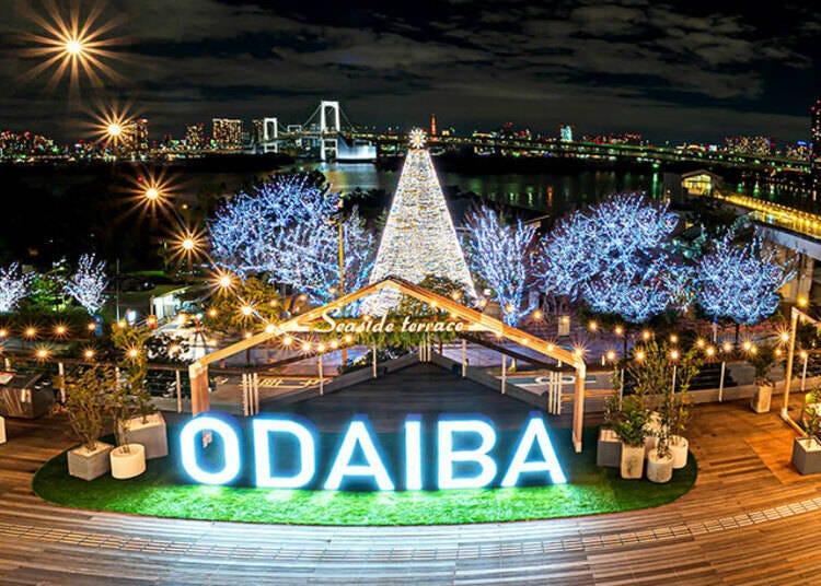 """9. 東京湾の夜景とレインボーブリッジを背景に輝く「Odaiba ILLUMINATION """"YAKEI""""」"""