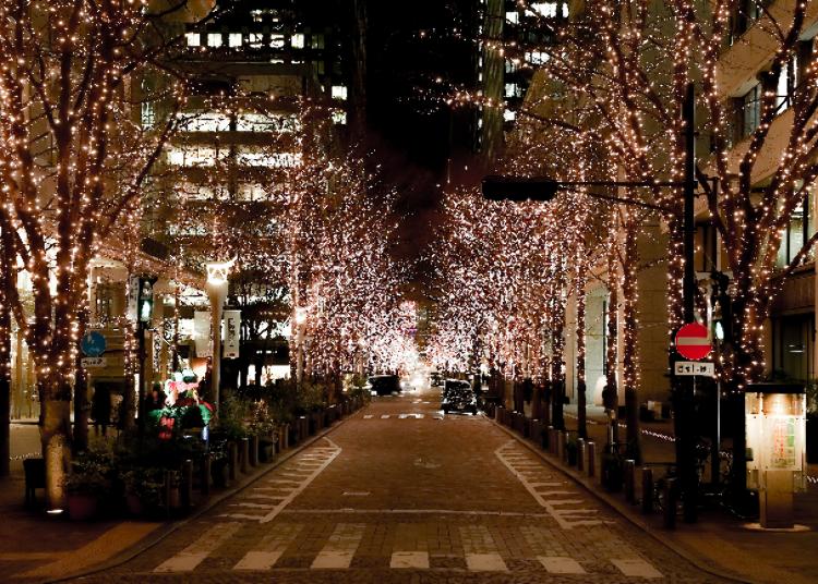 1. 120万颗耀眼香槟金灯饰点缀的璀璨街道「丸之内Illumination 2020」