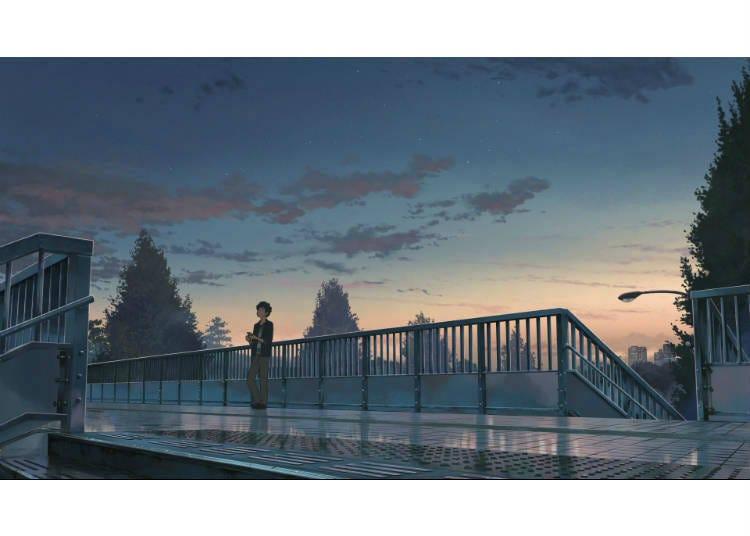 ① The Pedestrian Bridge in Front of JR Shinanomachi Station