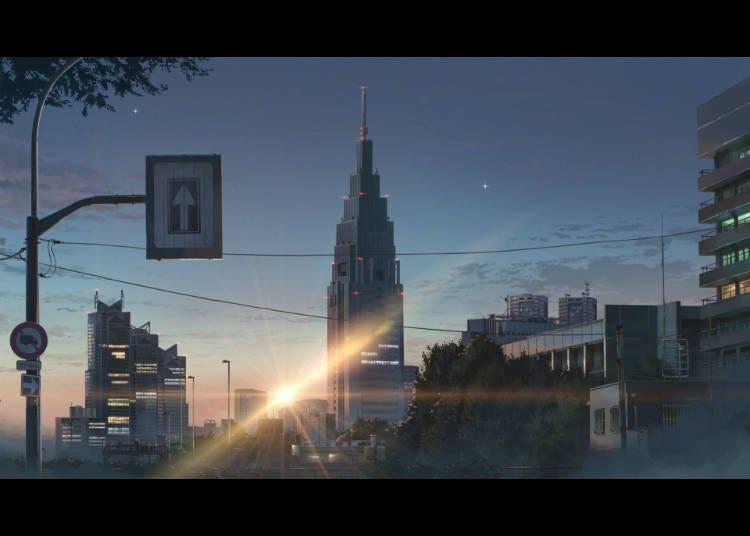 ② 从JR信浓町站看到的DoCoMo大厦
