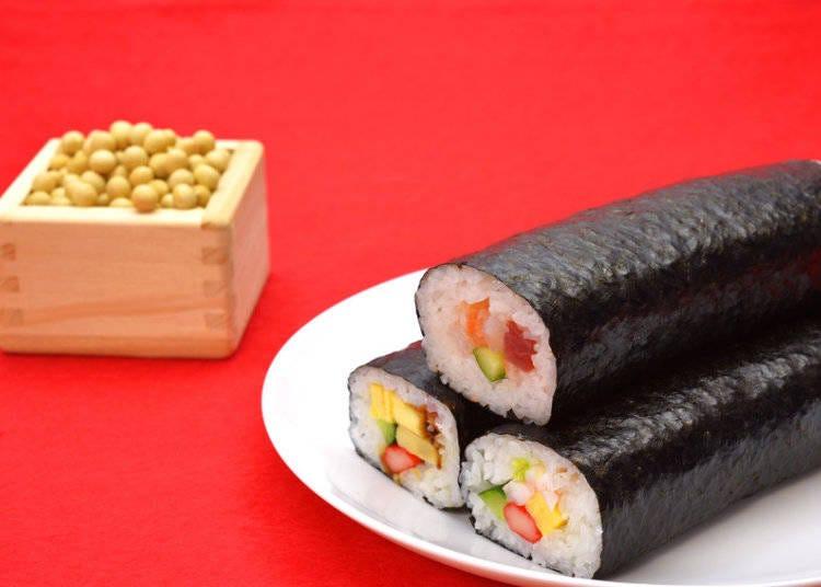 恵方巻き : 幸運の長い巻き寿司