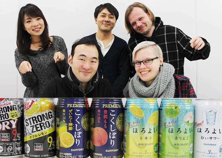 """【人气No.1是……!?】5位外国人品尝比较SUNTORY三得利人气易拉罐""""Chuhai"""""""