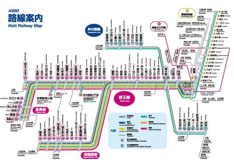 게이오 전철-다카오산까지 최단 47분
