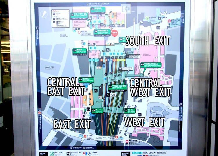 3) Shinjuku Station has three main exits: East, South, and West