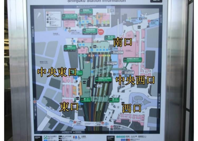 3)新宿駅の出口は主に東・南・西の3つ