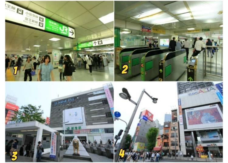 5)如何前往歌舞伎町、ALTA、BICQLO、伊勢丹所在的新宿車站東口?