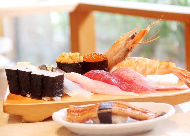 신선하고 큼직한 해산물이 올라간 '나리타에돗코 초밥 산도 본점'