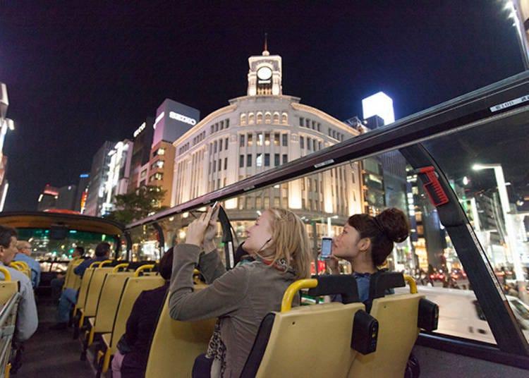 从露天双层巴士恣意浏览东京的夜景