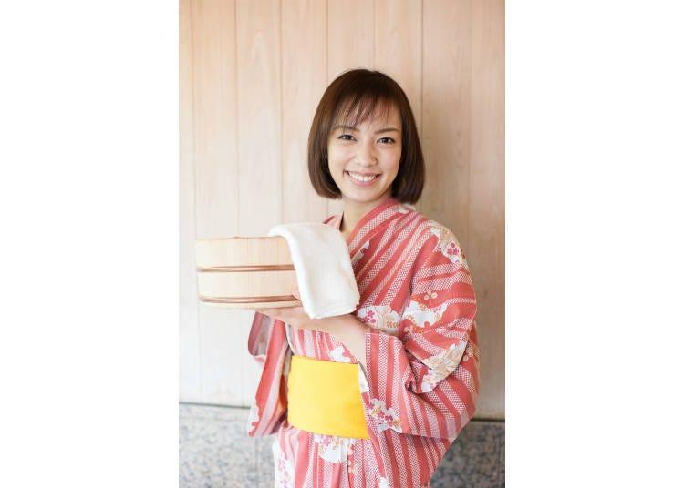 5)溫泉旅館提供的毛巾應如何使用?