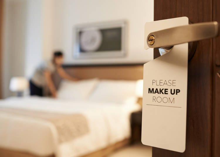 8)隔天早上想請飯店清理房間的話怎麼辦?