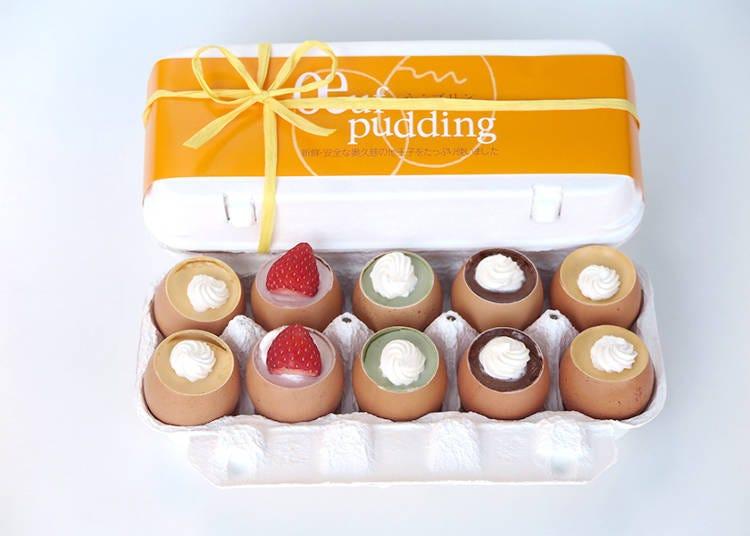 달걀 껍데기를 사용한 4가지 맛의 농후한 푸딩