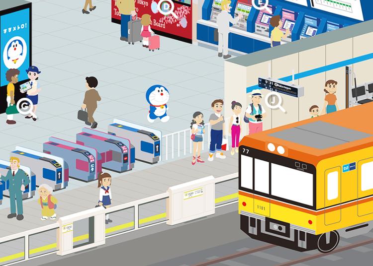Everyone's Favorite Robot Cat Doraemon Shares About Tokyo's Subway!