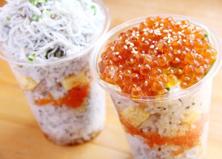 """เมนูเดินไปชิมไป 2 ปลาชิราสุกับไข่ปลาแซลมอนที่ใส่มาจนแทบล้น ซูชิคัพจากร้าน """"Han'nari inari komachi honten"""""""