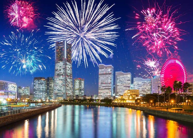 【새해 이벤트】요코하마항과 불꽃놀이의 경연-새해 카운트다운