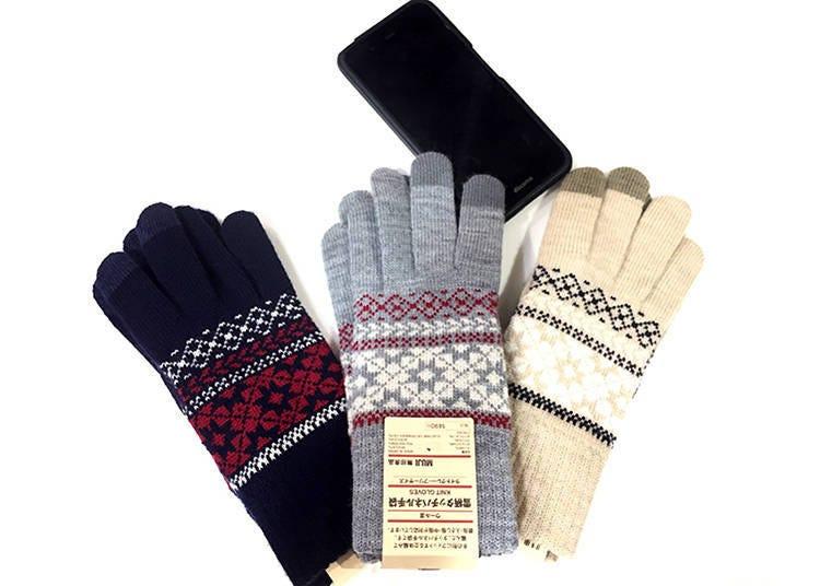 無印良品推薦冬季商品①混羊毛雪花紋觸控手套