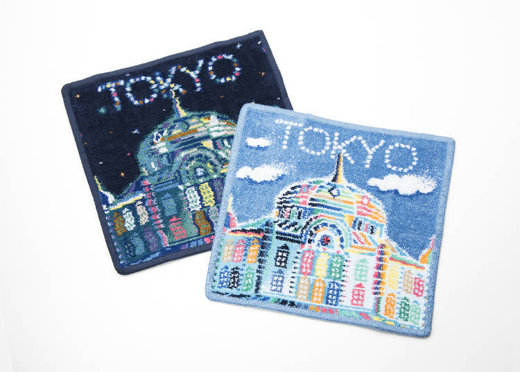 Souvenirs Only Available at Tokyo Station #3 - Feiler Tokyo Station Building Handkerchief Blue / Night (2,160 JPY each)