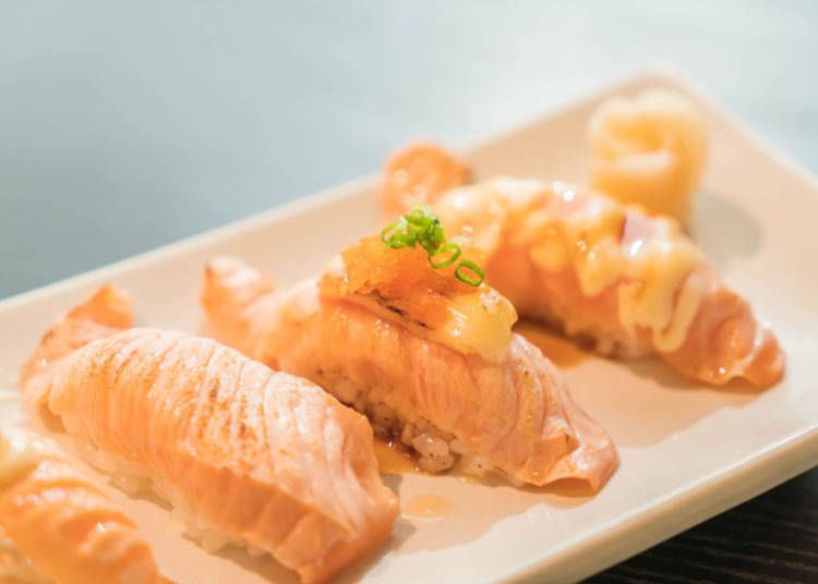 2. Salmon Nigiri with Assorted Toppings