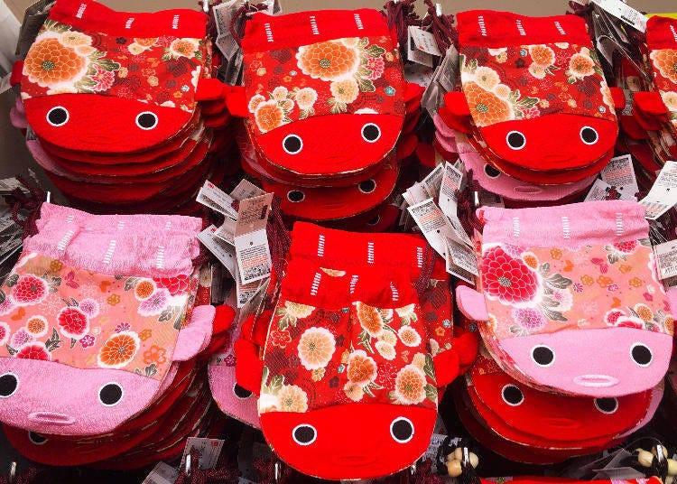 日式和風金魚束口袋 大(彩り日和 巾着 金魚 大)