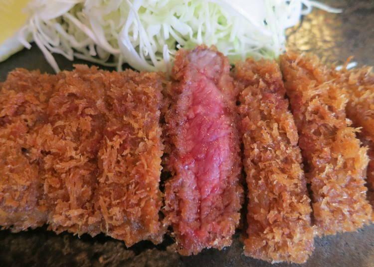 3. 關西優質午餐「炸牛排」半熟牛肉沾芥末堪稱最佳拍檔