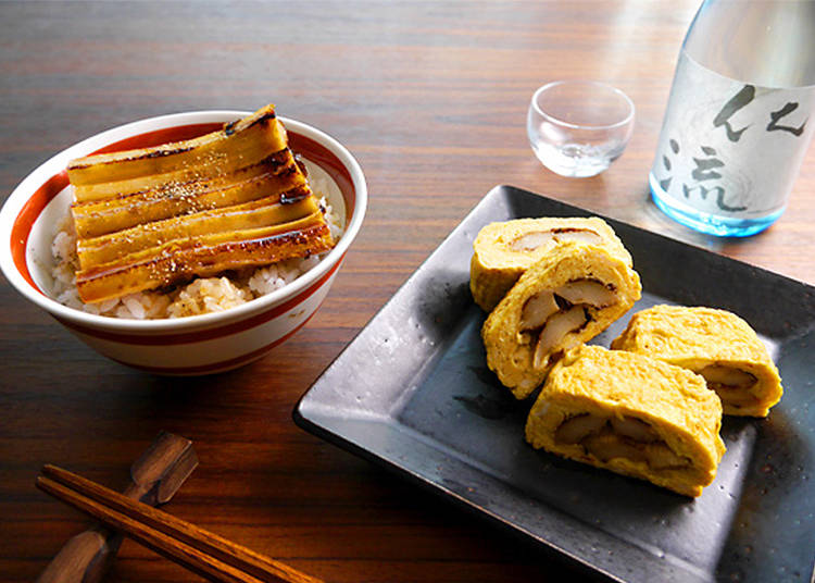 9. Chikuwa (Fish Cake) Bowl & Egg Rolls