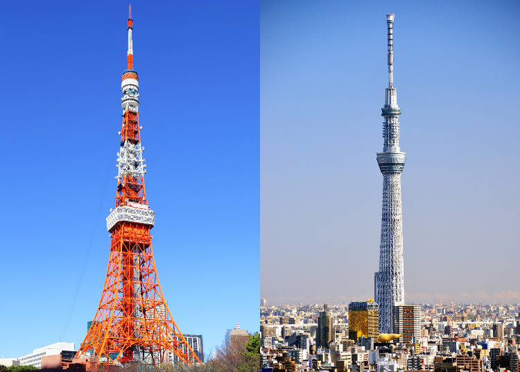Compare the basic facts of Tokyo Tower and Tokyo Skytree!