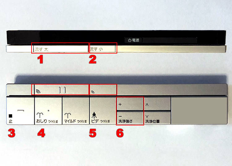 1. How to use a Japanese toilet's remote controls