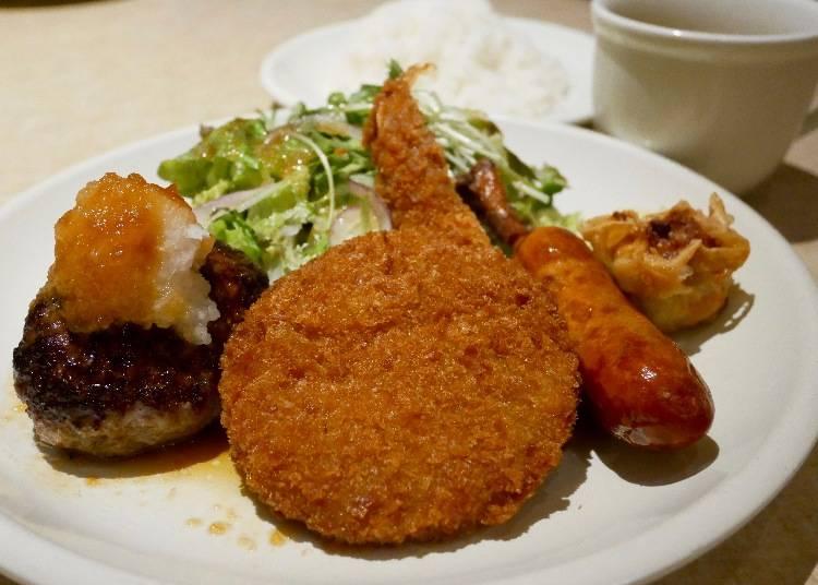 【900日圓】在上野的午餐就決定是這個了!「肉の大山」午間特餐炸物拼盤套餐(盛り合わせランチプレート)