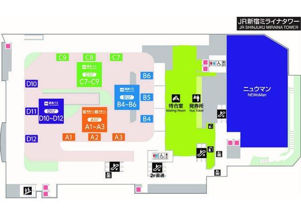 5.主な路線のバス乗り場は4階。4つのエリアから方向別に分類!