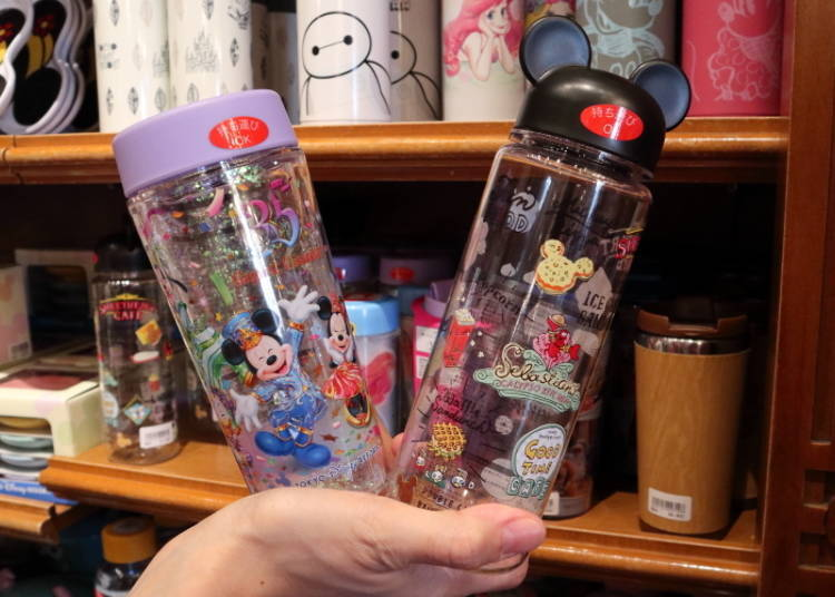Stay hydrated during the summer!  35th Anniversary Drink Bottle, 1600 yen; Mickey Mouse Ears Bottle, 1800 yen