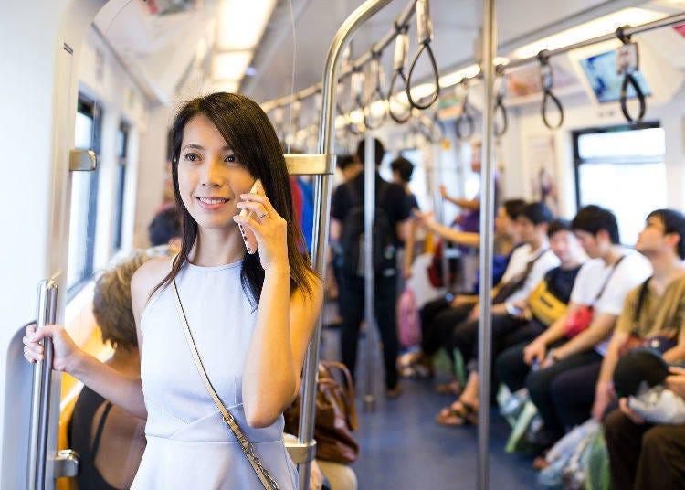 在日本公眾交通工具內禁止講電話!