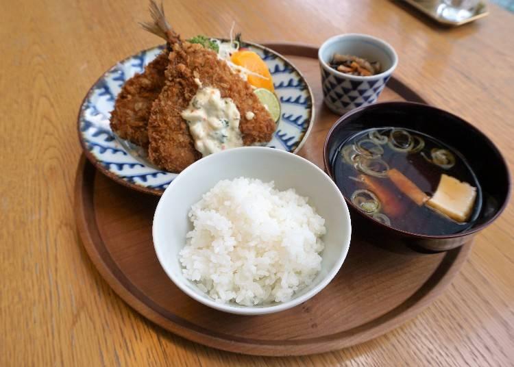 長崎定食 - 松浦港的炸竹莢魚(長崎定食松浦港のアジフライ)1,550日圓(含稅)
