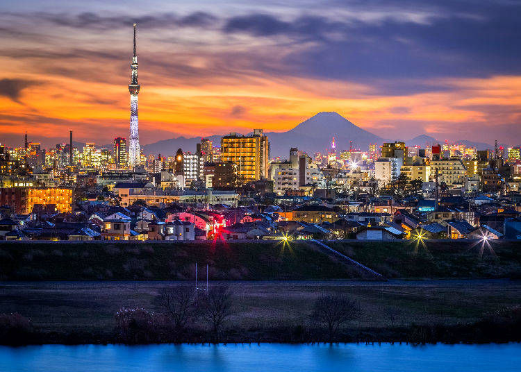 4. Where can you see Mt. Fuji from Tokyo?