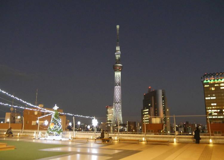 從屋頂的淺草Halle Terrace能遠眺東京晴空塔®?!夜景私房景點,不要錯過了喲!