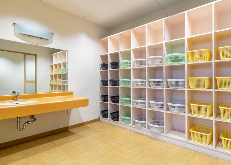 Prepare for your onsen: The changing room