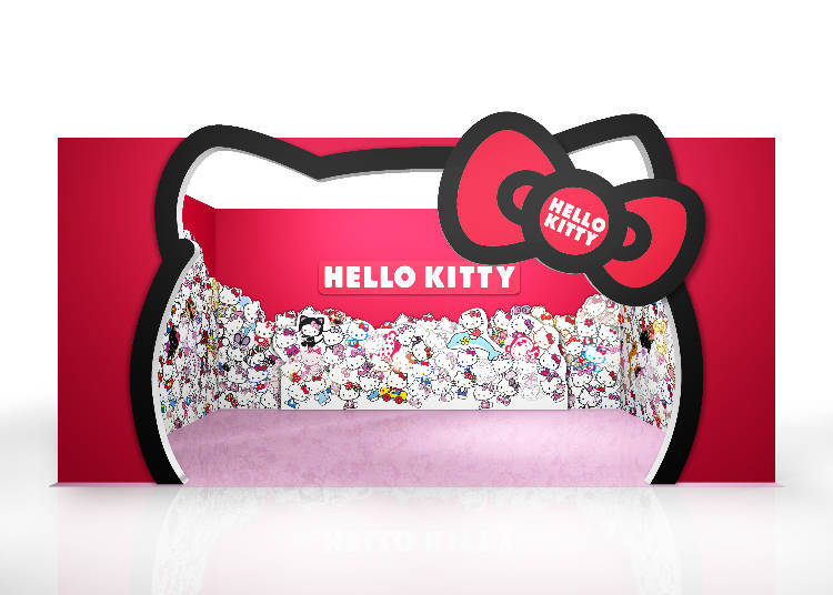 You can take photos in the Hello Kitty Room, the first to be opened in Japan