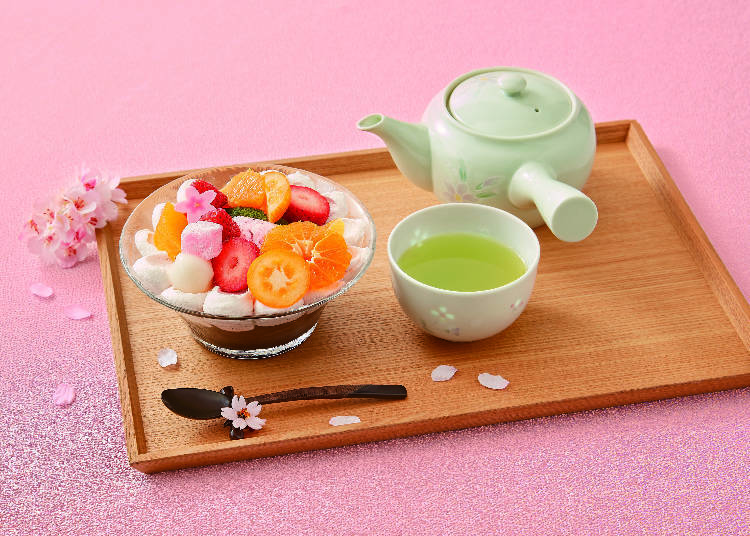"1. Kyobashi Senbikiya Fruits Parlor: Presenting the Beauty of Spring with ""Strawberry and Citrus Hanami Parfait with Green Tea"""