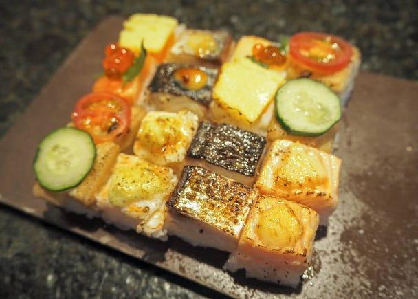 美味到令人啧啧称赞的缤纷炙烤寿司「KINKA sushi bar izakaya 涩谷」