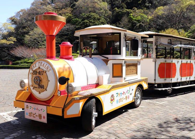 The Flower Train is a convenient way to get around inside Kurihama Flower Park