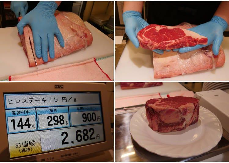 肉のカット場で、食べたい量と焼き方をオーダー!