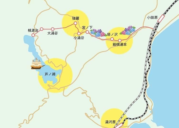 先將箱根的觀光景點分成4大區域!
