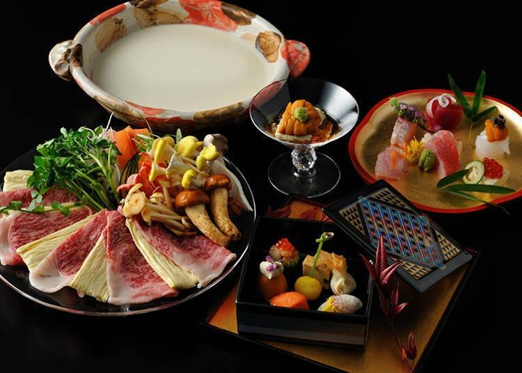 화려한 그릇과 유바를 즐기는 특별 가이세키
